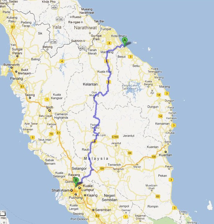 Malaysia Map: Route 8 From North-East To South-West Malaysia
