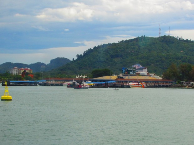 approaching Kuah Ferry Terminal on Langkawi
