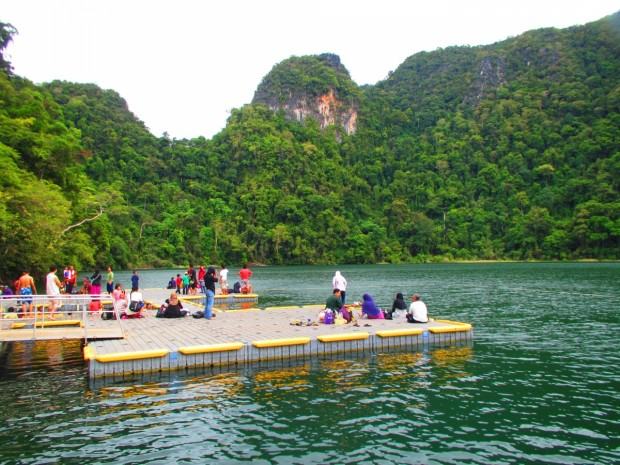 a platform on the lake - you can swim in the fresh water - cool but not cold