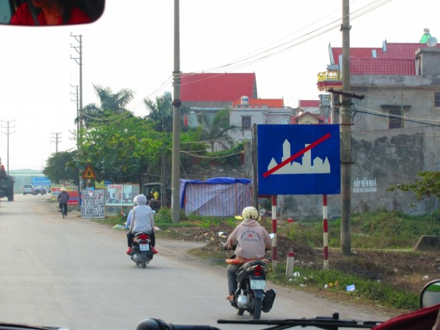 leaving one of the towns on the way back to Hanoi