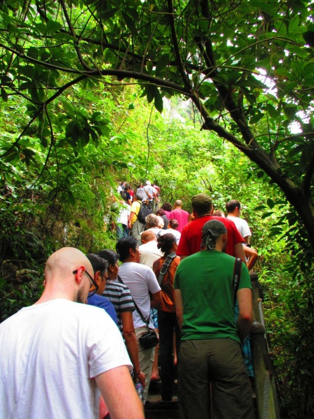 the hordes cliimbing up towards the caves