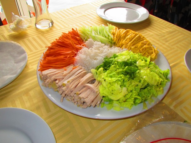"""Back on the boat we had our """"cooking lesson"""" - making a vietnamese roll. The ingredients..."""
