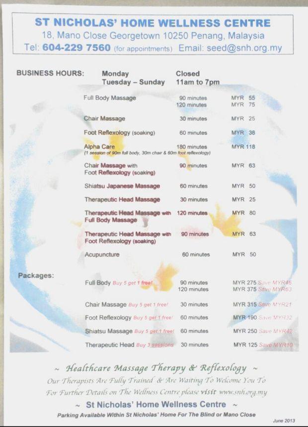 menu of massages