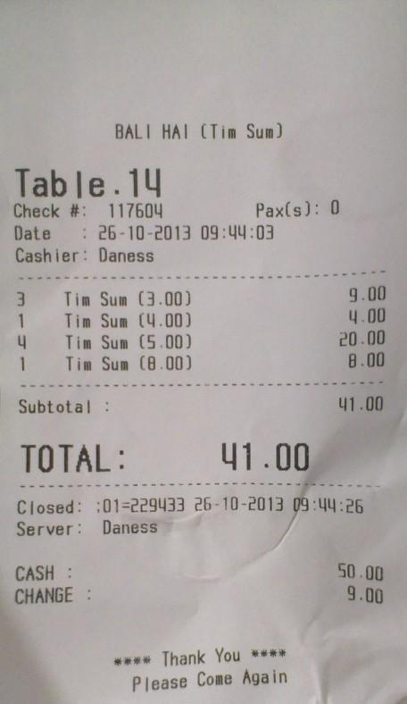 The bill, October 2013
