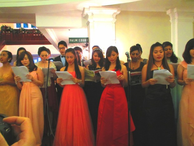 a choir sang quite a long session of traditional and modern Christmas hyms and songs