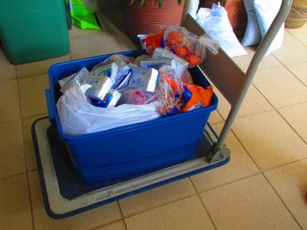 our shopping with our container and trolley