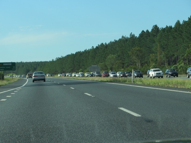end of holiday traffic jam heading south to Brisbane