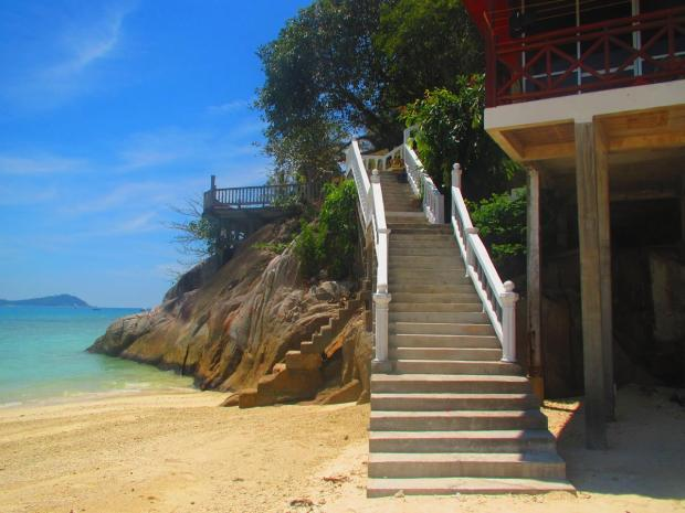 at this beach you pass Cocohut and ascend the stairs