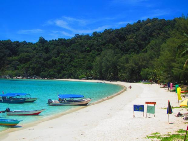 Perhentian Island Resort's beach.  This is about 15 minute's walk from where you come out of the jungle.