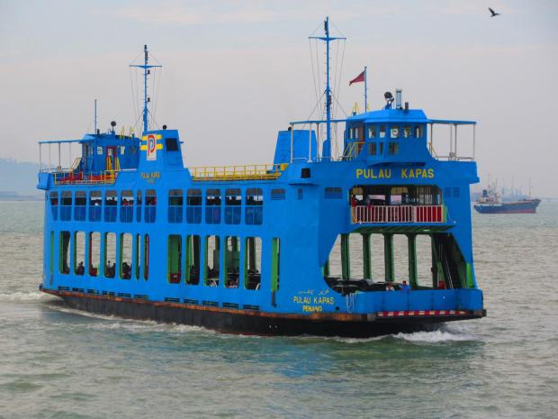 another blue ferry, but with a different car/passenger configuration