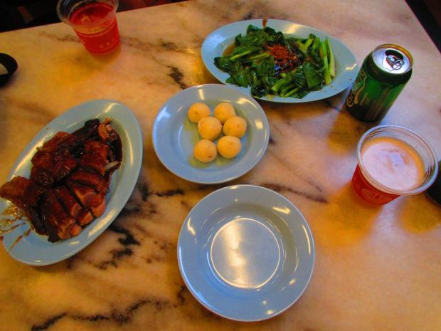 duck, vegetables, and the Malacca specialty - chicken rice balls