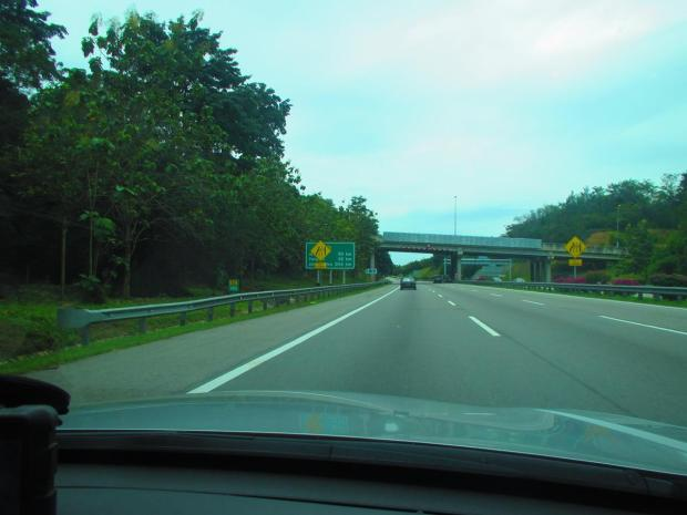 on the motorway south towards Johor