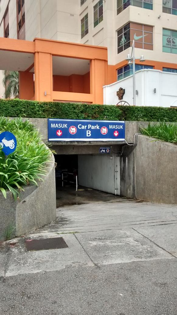 entrance to car park that you can walk out of