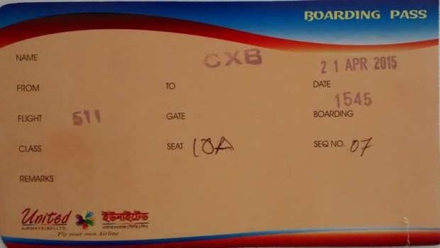 United boarding pass
