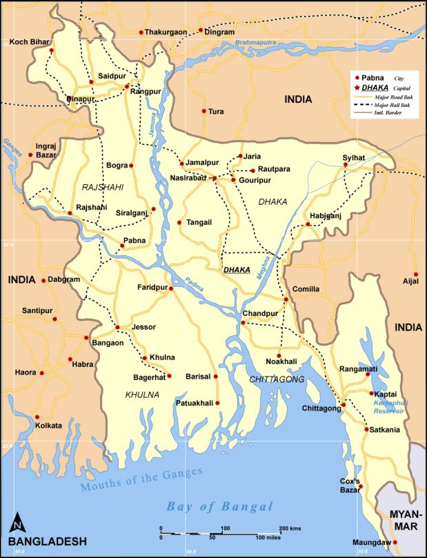 rail / road map of Bangladesh
