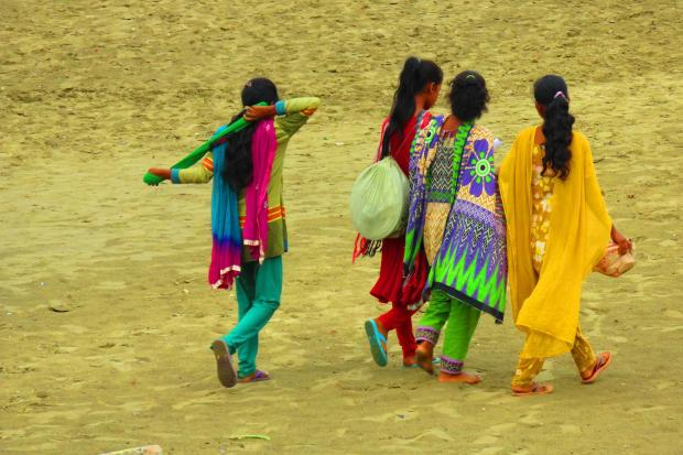 girls and women often dress very colourfully