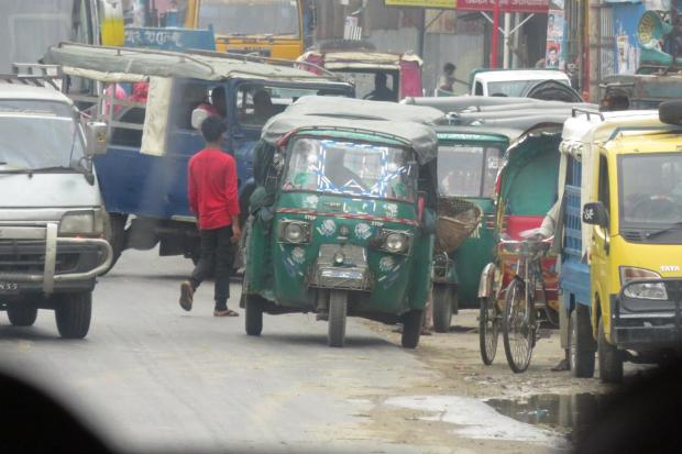 village traffic jam en route to Chittagong