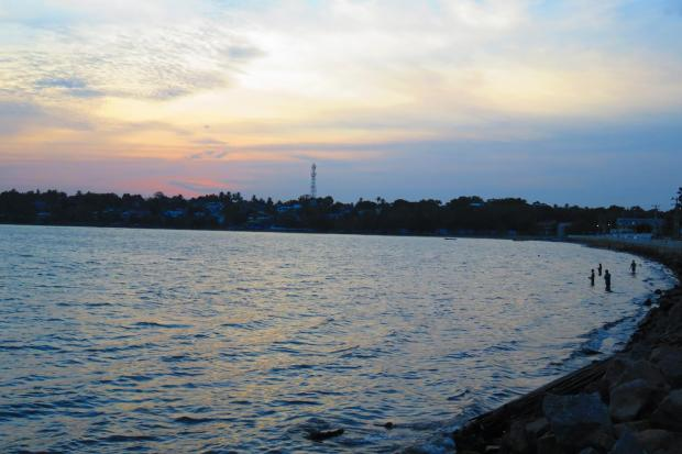 dusk over the bay behind Trincomalee