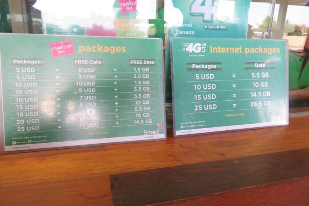 SIM prices. I took the first choice on the left which was ample for 10 days