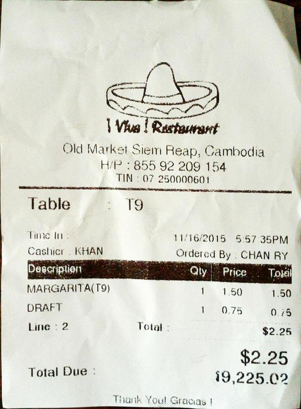 restaurant receipts