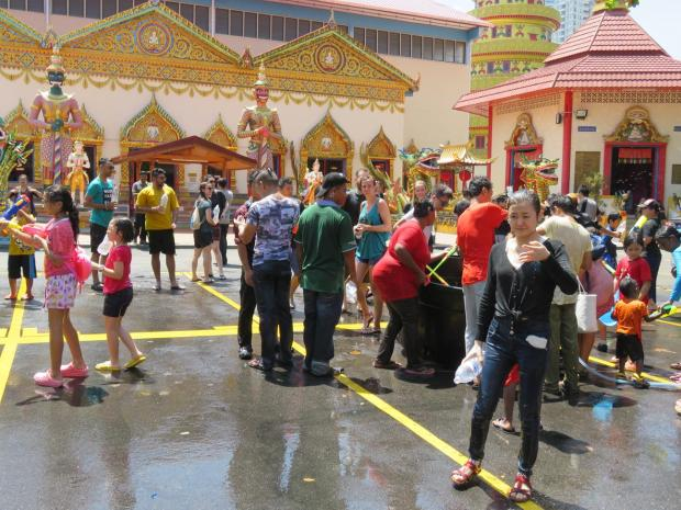 the water fights are at the thai temple