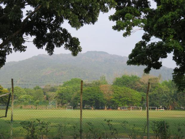 the view across the sports fields to the hills