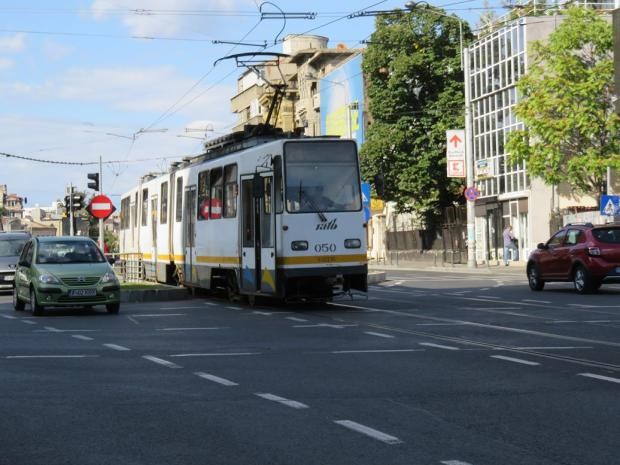 a tram in Bucharest