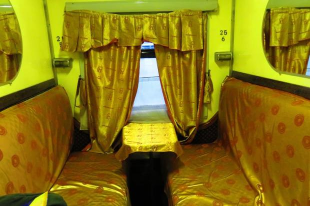 a first class slepper compartment on the night train from Bucharest to Chisinau, Moldova