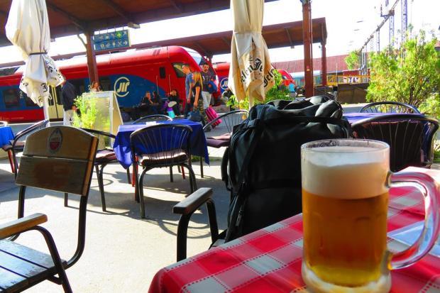 Belgrade Station platform - having a beer