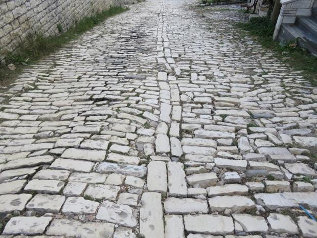 the best approach was to walk on those centre bricks - they are a bit more even. But many paths weren't constructed this way