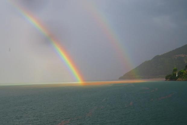 double rainbow approaching the mainland