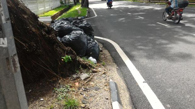 rubbish is also blocking the footpath